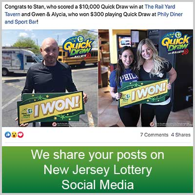 We share your posts on New Jersey Lottery Social Media